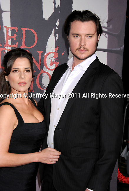 "HOLLYWOOD, CA - MARCH 07: Kelly Monaco and Heath Freeman arrive to the ""Red Riding Hood"" Los Angeles Premiere at Grauman's Chinese Theatre on March 7, 2011 in Hollywood, California."
