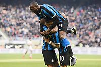 Lautaro Martinez of FC Internazionale celebrates with Ashley Young and Romelu Lukaku after scoring the goal of 1-0 <br /> Milano 26/01/2020 Stadio San Siro <br /> Football Serie A 2019/2020 <br /> FC Internazionale - Cagliari <br /> Photo Image Sport / Insidefoto