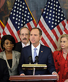 United States Representative Adam Schiff (Democrat of California), Chairman, US House Permanent Select Committee on Intelligence, speaks alongside (L-R) United States Representative Maxine Waters (Democrat of California), Representative Eliot Engel (Democrat of New York), and United States Representative Carolyn Maloney (Democrat of New York), at a news conference laying out articles of impeachment for President Donald J. Trump, on Capitol Hill in Washington, DC on Tuesday, December 10, 2019. Credit: Alex Wroblewski / CNP
