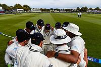Black Caps get ready for Day 4 of the Second International Cricket Test match, New Zealand V England, Hagley Oval, Christchurch, New Zealand, 2nd April 2018.Copyright photo: John Davidson / www.photosport.nz