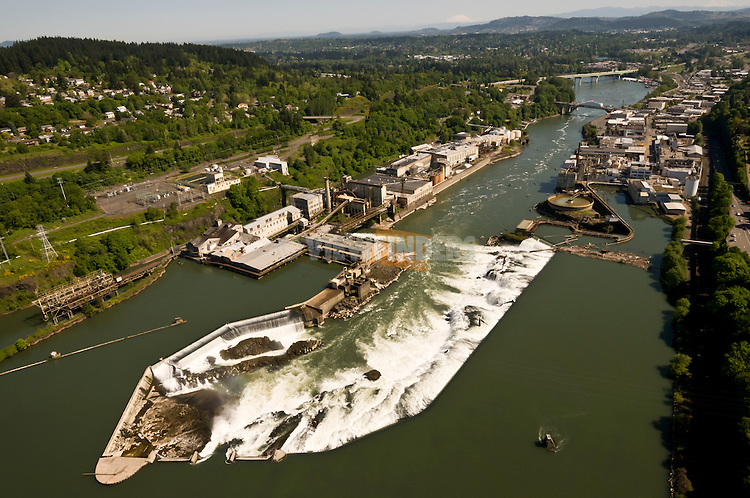Aerial view of Willamette Falls south of Portland, Oregon in Oregon City.