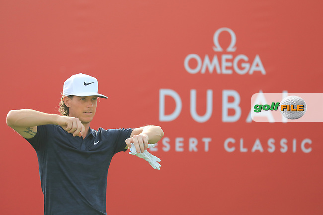 Kristoffer Broberg (SWE) in action during the first round of the Omega Dubai Desert Classic, Emirates Golf Club, Dubai, UAE. 24/01/2019<br /> Picture: Golffile | Phil Inglis<br /> <br /> <br /> All photo usage must carry mandatory copyright credit (&copy; Golffile | Phil Inglis)