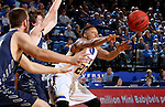 BROOKINGS, SD - NOVEMBER 3:  Andre Wallace #20 from South Dakota State passes out of pressure by Jake Heath #5 from SD School of Mines in the first half of their exhibition game Thursday evening at Frost Arena in Brookings. (Photo by Dave Eggen/Inertia)