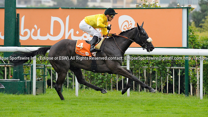 Yellow and Green (no. 4), ridden by Theirry Thulliez and trained by Nicolas Clement, wins the  group 2 Prix de Malleret Stakes for thee year old fillies on June 24, 2012 at Saint-Cloud Racecourse in Saint-Cloud, France.  (Bob Mayberger/Eclipse Sportswire)