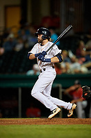 Bowling Green Hot Rods third baseman Zach Rutherford (15) follows through on a swing during a game against the Peoria Chiefs on September 15, 2018 at Bowling Green Ballpark in Bowling Green, Kentucky.  Bowling Green defeated Peoria 6-1.  (Mike Janes/Four Seam Images)