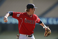 Patrick Wisdom #5 of the St.Mary's Gaels plays third base against the Georgia Bulldogs at Dodger Stadium in Los Angeles,California on March 13, 2011. Photo by Larry Goren/Four Seam Images