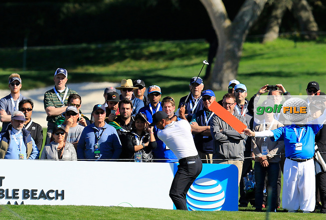 Jason Day (AUS) tees off the 6th tee at Pebble Beach Golf Links during Sunday's Final Round 4 of the 2017 AT&amp;T Pebble Beach Pro-Am held over 3 courses, Pebble Beach, Spyglass Hill and Monterey Penninsula Country Club, Monterey, California, USA. 12th February 2017.<br /> Picture: Eoin Clarke | Golffile<br /> <br /> <br /> All photos usage must carry mandatory copyright credit (&copy; Golffile | Eoin Clarke)