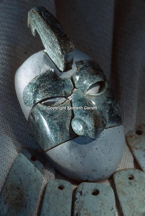 Takalik Abaj, Ceremonial jade mask from royal burial, early Maya grave, Guatemala, archaeology, Americas, artifact