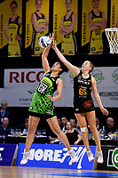 Magic&rsquo;s Kelsey McPhee and Pulse&rsquo; Sulu Fitzpatrick in action during the ANZ Premiership - Pulse v Magic at TSB Bank Arena, Wellington, New Zealand on Sunday 21 April 2019. <br /> Photo by Masanori Udagawa. <br /> www.photowellington.photoshelter.com