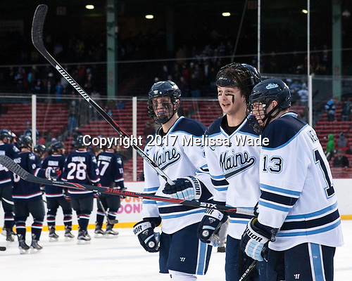 Peter Housakos (Maine - 24), Patrick Holway (Maine - 2), Nolan Vesey (Maine - 13) - The University of Maine Black Bears defeated the University of Connecticut Huskies 4-0 at Fenway Park on Saturday, January 14, 2017, in Boston, Massachusetts.