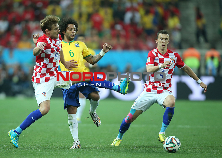 2014 Fifa World Cup opening game from group A against Brazil and Croatia.<br /> Nikica Jelavic, Marcelo, Ivan Perisic<br /> <br /> Foto &copy;  nph / PIXSELL / Sajin Strukic