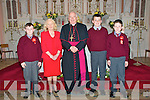 Pupils from Kilconly NS, Ballybunion who were confirmed on Monday last by Bishop Bill Murphy in Ballybunion Church. L - R : Luke Bishop. Teacher patricioa Boyle, Bishop Bill Murphy, Liam Lawlor & Fintan Linnane.