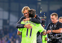 Jurgen Klopp celebrates Liverpools win with Roberto Firmino during the EPL - Premier League match between Crystal Palace and Liverpool at Selhurst Park, London, England on 29 October 2016. Photo by Steve McCarthy.