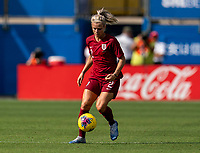 FRISCO, TX - MARCH 11: Rachel Daly #2 of England sprints during a game between England and Spain at Toyota Stadium on March 11, 2020 in Frisco, Texas.