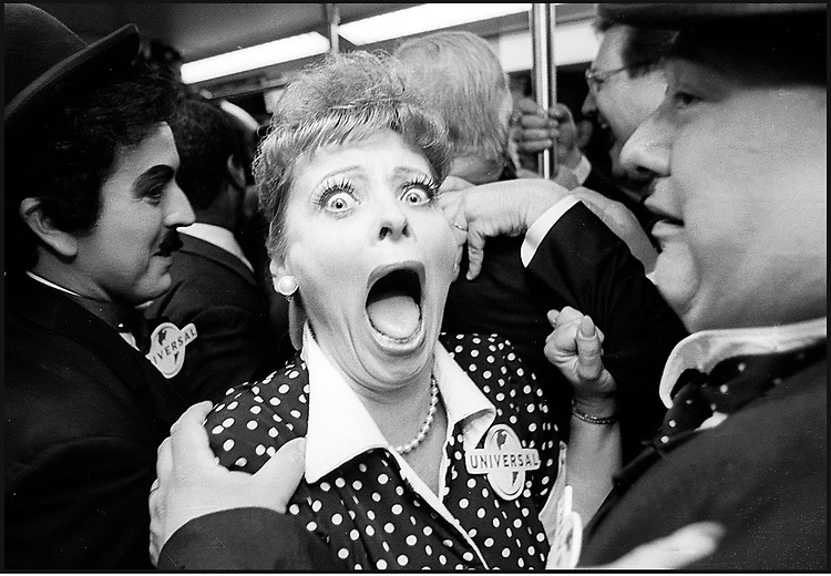 NoHo 2000, The Los Angeles Public Library Neighborhood Project. Photo: Gerard Burkhart..Lucy Train- An actress portraying Lucy doesn?t break character when the Metro car she was riding gave a sudden lurch before starting its inaugural run, 23 June 2000.