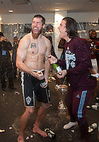 21 November 2010: Colorado Rapids goalkeeper Matt Pickens #18 and the rest of the Colorado Rapids players  celebrate in the locker room after winning the 2010 MLS CUP between the Colorado Rapids and FC Dallas at BMO Field in Toronto, Ontario Canada..The Colorado Rapids won 2-1 in extra time....