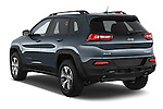 Car pictures of rear three quarter view of a 2014 Volkswagen Cherokee Trailhawk 4X4 5 Door SUV angular rear