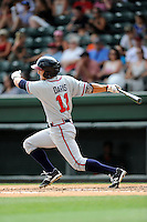 Center fielder Joseph Daris (11) of the Rome Braves bats in a game against the Greenville Drive on Sunday, June 14, 2015, at Fluor Field at the West End in Greenville, South Carolina. Rome won, 5-2. (Tom Priddy/Four Seam Images)