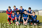 Scoil Mhuire Cahirciveen Front l-r Darren Kelly, Luke Harty, Cian O'Donoghue, Cian O'Shea Back l-r Darragh O'Shea, Orin O'Shea, Cahal O'Shea and Alex Coffey at the FAI Spar schools 5 aside soccer tournament in Christy Leahy Park on Tuesday