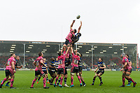 Dave Dennis of Exeter Chiefs competes with Charlie Ewels of Bath Rugby for the ball at a lineout. Anglo-Welsh Cup Final, between Bath Rugby and Exeter Chiefs on March 30, 2018 at Kingsholm Stadium in Gloucester, England. Photo by: Patrick Khachfe / Onside Images