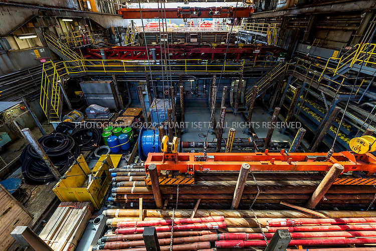 6/8/2015&mdash;Seattle, WA, USA<br /> <br /> Rows of drilling pipes ready in a holding bay of the Polar Pioneer oil rig.<br /> <br /> The Polar Pioneer offshore oil rig, parked at Seattle&rsquo;s Terminal 5 at the Port of Seattle. The rig arrived in the city on May, 14th, 2015 and immediately drew protest groups as well as resistance from city, county and state leaders concerned over the rig&rsquo;s planned arctic oil exploration and the impact of arctic oil drilling on climate change. Shell hopes to berth equipment in Seattle during the off-season of oil exploration in Alaskan waters of the Arctic.<br /> <br /> When the Polar Pioneer arrived in Seattle it was met by activists paddling out in kayaks, so-called &ldquo;kayaktivists&rdquo;,  who along with Greenpeace and other loosely aligned groups plans protests all summer in the city until the rig leaves.<br /> Photograph by Stuart Isett for The Wall Street Journal<br /> &copy;2015 Stuart Isett. All rights reserved.<br /> Slug: ARCTIBET