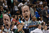 February 24, 2012:   Jacksonville Dolphins hold up signs of Jacksonville Dolphins head coach Cliff Warren  during Atlantic Sun Conference action between the Jacksonville Dolphins and the North Florida Ospreys at Veterans Memorial Arena in Jacksonville, Florida. North Florida defeated Jacksonville 70-64.