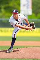 Relief pitcher Aaron Northcraft #28 of the Rome Braves follows through on his delivery against the Hagerstown Suns at State Mutual Stadium on May 2, 2011 in Rome, Georgia.   Photo by Brian Westerholt / Four Seam Images