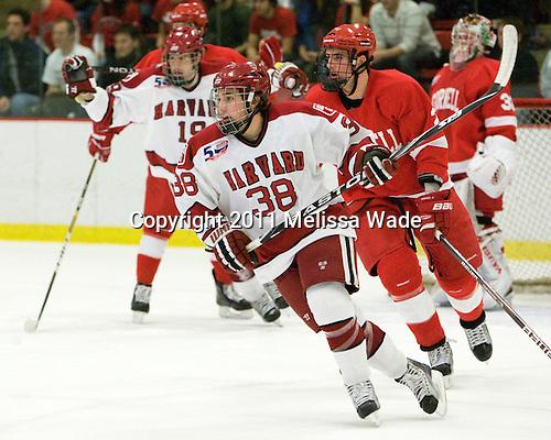 Conor Morrison (Harvard - 38), Mike Devin (Cornell - 2) - The visiting Cornell University Big Red defeated the Harvard University Crimson 2-1 on Saturday, January 29, 2011, at Bright Hockey Center in Cambridge, Massachusetts.