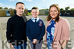 Thomas Lyne graduating from Ardfert NS on Thursday standing with his parents  Jack and Niamh Lyne.
