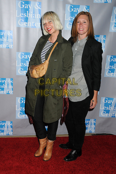 """Sia Furler, Patty Schemel.L.A. Gay & Lesbian Center's """"An Evening With Women"""" 2012 held at the Beverly Hilton Hotel, Beverly Hills, California, USA..May 19th, 2012.full length black jacket green grey gray.CAP/ADM/BP.©Byron Purvis/AdMedia/Capital Pictures."""