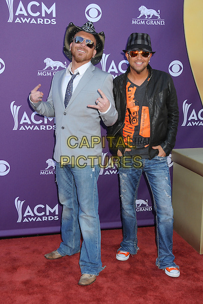 LoCash Cowboys.47th Annual Academy of Country Music Awards held at the MGM Grand, Las Vegas, Nevada, USA..April 1st, 2012.full length jeans denim jacket grey gray hands black sunglasses shades CMA ACM.CAP/ADM/BP.©Byron Purvis/AdMedia/Capital Pictures.