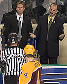 Dave Hakstol, Cary Eades - The University of Minnesota Golden Gophers defeated the University of North Dakota Fighting Sioux 4-3 on Saturday, December 10, 2005 completing a weekend sweep of the Fighting Sioux at the Ralph Engelstad Arena in Grand Forks, North Dakota.