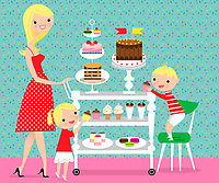 Children choosing cakes from sweet trolley pushed by mother