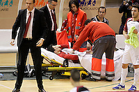 Caja Segovia's Victor Paez injured during Spanish National Futsal League match.November 24,2012. (ALTERPHOTOS/Acero) /NortePhoto