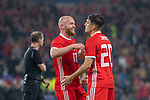 Cardiff - UK - 9th September :<br />Wales v Belarus Friendly match at Cardiff City Stadium.<br />Daniel James of Wales is congratulated on his first half goal by Jonny Williams.<br />Editorial use only