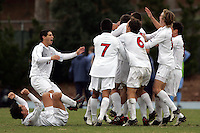 SMU celebrates their victory in second overtime to advance to the 2005 NCAA College Cup. Southern Methodist University defeated the University of North Carolina 3-2 in double overtime at Fetzer Field in Chapel Hill, North Carolina, Saturday, December 3, 2005.