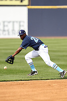 Wilmington Blue Rocks shortstop Rey Navarro #28 during a game against the Lynchburg Hillcats at Frawley Stadium on May 3, 2011 in Wilmington, Delaware.  Lynchburg defeated Wilmington by the score of 11-1.  Photo By Mike Janes/Four Seam Images