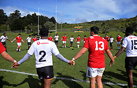 The teams huddle after the rugby match between New Zealand Schools Barbarians and Fiji Schools at Jerry Collins Stadium in Porirua, Wellington, New Zealand on Monday, 1 October 2018. Photo: Dave Lintott / lintottphoto.co.nz