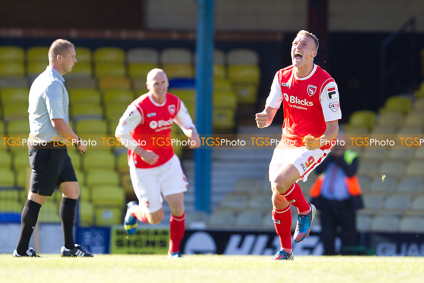Jack Sampson of Morecambe turns to celebrate his goal - Southend United vs Morecambe - Sky Bet League Two Football at Roots Hall, Southend-on-Sea, Essex- 07/09/13 - MANDATORY CREDIT: Ray Lawrence/TGSPHOTO - Self billing applies where appropriate - 0845 094 6026 - contact@tgsphoto.co.uk - NO UNPAID USE