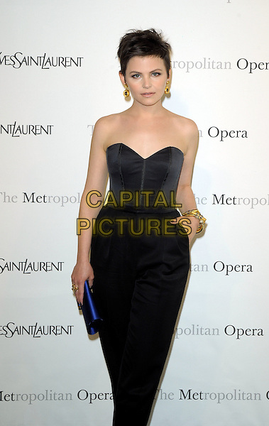 "GINNIFER GOODWIN .The Metropolitan Opera Gala Premiere of ""Armida"" at the Metropolitan Opera House at Lincoln Center,  New York, NY, USA, 12th April 2010..half length strapless bustier corset top high waisted trousers hand in pocket gold earrings bracelet blue clutch bag purple 3/4 .CAP/ADM/BM.©Bill Menzel/AdMedia/Capital Pictures."
