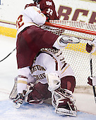 Paul Carey (BC - 22), Parker Milner (BC - 35) - The Boston College Eagles defeated the University of Massachusetts-Amherst Minutemen 3-2 to take their Hockey East Quarterfinal matchup in two games on Saturday, March 10, 2012, at Kelley Rink in Conte Forum in Chestnut Hill, Massachusetts.