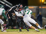 San Pedro, CA 11/27/15 - Joe Mcguinness (Palos Verdes #24) and Kevin Russell (Mira Costa #27) in action during the CIF Western Division semi-final game between Mira Costa and Palos Verdes.  Palos Verdes defeated Mira Costa to advance to the Western Division finals.