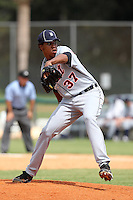 Detroit Tigers pitcher Edgar de la Rosa #37 during an Instructional League game against the national team from China at Vero Beach Sports Complex on September 29, 2011 in Vero Beach, Florida.  (Mike Janes/Four Seam Images)