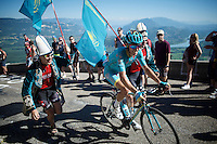 Diego Rosa (ITA/Astana) cheered up the Lacets du Grand Colombier (Cat1/891m/8.4km/7.6%) with some Kazach support<br /> <br /> stage 15: Bourg-en-Bresse to Culoz (160km)<br /> 103rd Tour de France 2016