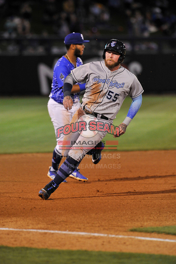 Corpus Christi Hooks right fielder Granden Goetzman (55) in action against the Tulsa Drillers at Oneok Stadium on May 4, 2019 in Tulsa, Oklahoma.  The Hooks won 9-7.  (Dennis Hubbard/Four Seam Images)