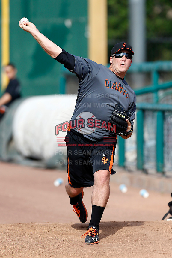 Clayton Blackburn #32 of the San Jose Giants throws in the bullpen before a game against the Inland Empire 66'ers at San Manuel Stadium on May 21, 2013 in San Bernardino, California. San Jose defeated Inland Empire, 8-0. (Larry Goren/Four Seam Images)