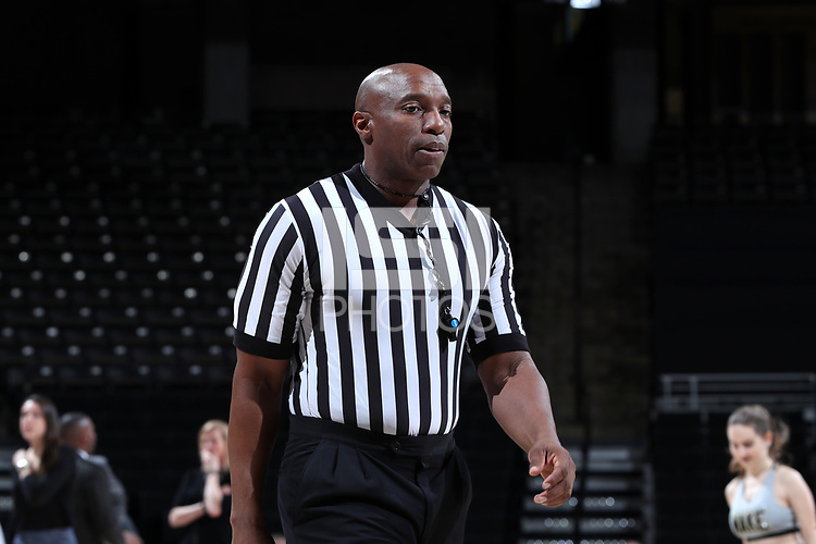 WINSTON-SALEM, NC - FEBRUARY 06: Official Kevin Dillard during a game between Notre Dame and Wake Forest at Lawrence Joel Veterans Memorial Coliseum on February 06, 2020 in Winston-Salem, North Carolina.