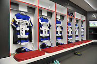 A general view of Bath Rugby matchday jerseys hung up in the changing rooms. Aviva Premiership Final, between Bath Rugby and Saracens on May 30, 2015 at Twickenham Stadium in London, England. Photo by: Patrick Khachfe / Onside Images