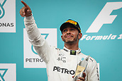 1st October 2017, Sepang, Malaysia;  FIA Formula One World Championship, Grand Prix of Malaysia, 44 Lewis Hamilton (GBR, Mercedes AMG Petronas F1 Team),  celebrates on the podium