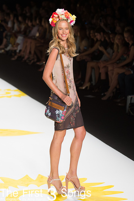 Models are seen during the Desigual presentation at the Mercedes-Benz Fashion Week Spring 2015 in New York City.